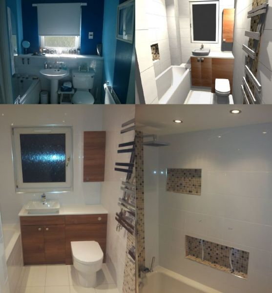 bathroom computer design, before and after photos - renovation in Darnley area of Glasgow in 2013